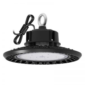 150w Led Ufo High Bay Ip65 19,500lm 5700k With Ring Mounted Black Finish For Warehouse Lighting 250